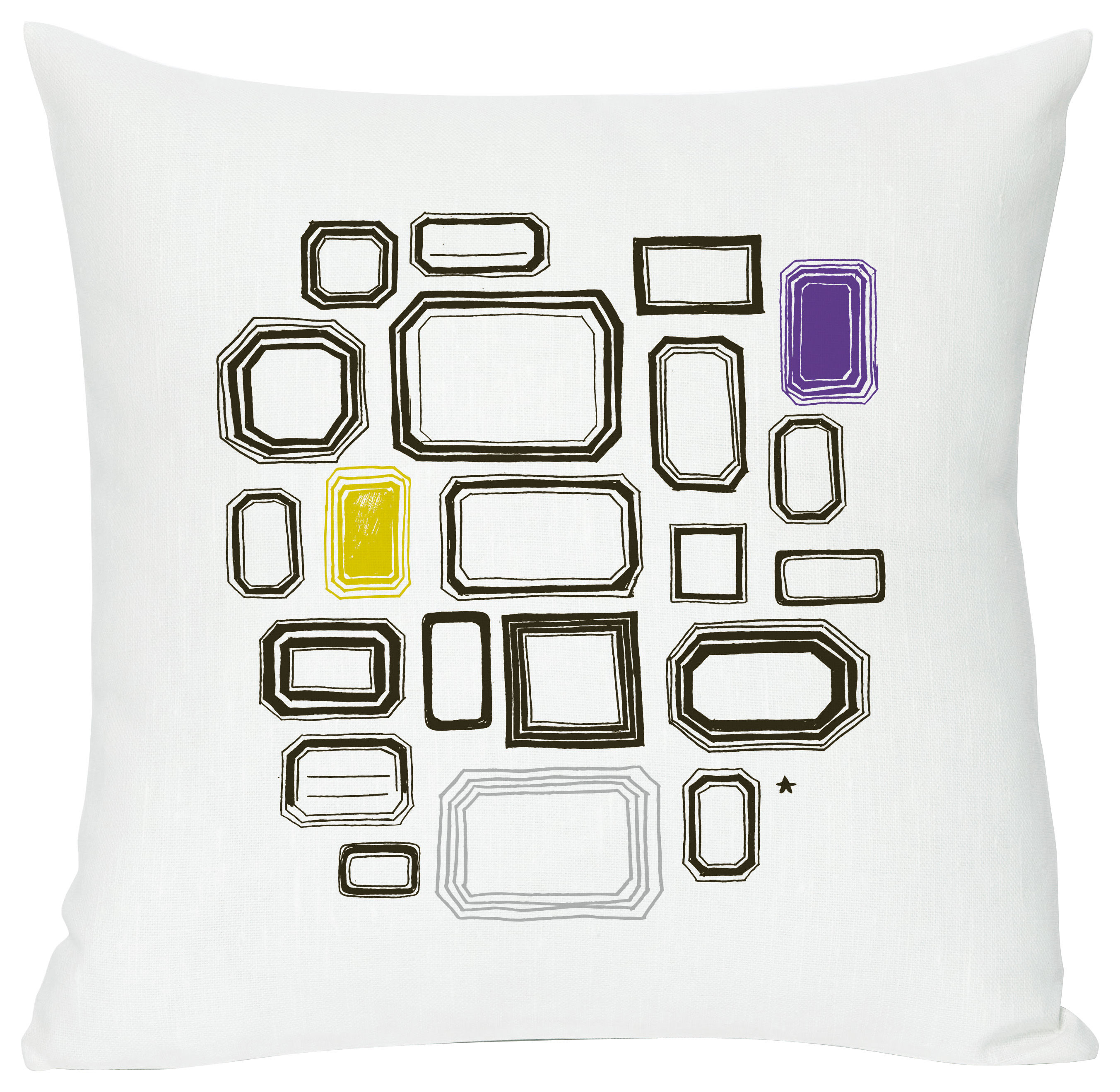 Decoration - Children's Home Accessories - Coll print Cushion - Screen printed cushion made of linen & cotton by Domestic - Coll print - White, black, purple & yellow - Cotton, Linen