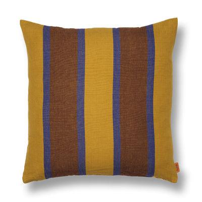 Decoration - Cushions & Poufs - Grand Cushion - / Linen & cotton - 50 x 50 cm by Ferm Living - Yellow / Blue / Chocolate -  Duvet,  Plumes, Cotton, Linen