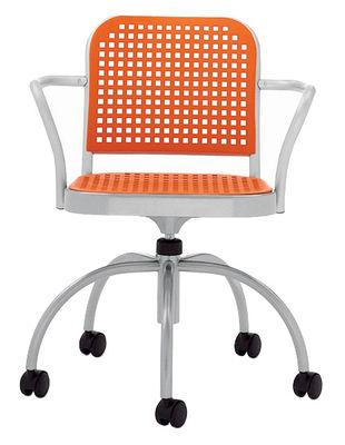 Fauteuil à roulettes Silver / Aluminium & plastique - De Padova orange,aluminium satiné en matière plastique