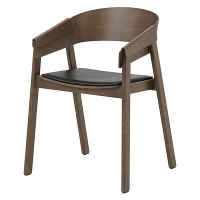 Mobilier - Chaises, fauteuils de salle à manger - Fauteuil Cover / Bois - assise cuir - Muuto - Bois foncé / Cuir noir - Cuir pleine fleur, Frêne teinté, Hêtre teinté