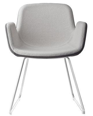 Mobilier - Chaises, fauteuils de salle à manger - Fauteuil rembourré Pass / Piètement luge - Tissu - Lapalma - Assise : Int. tissu gris clair / ext. tissu gris foncé - Pièteme - Acier inoxydable sablé, Tissu