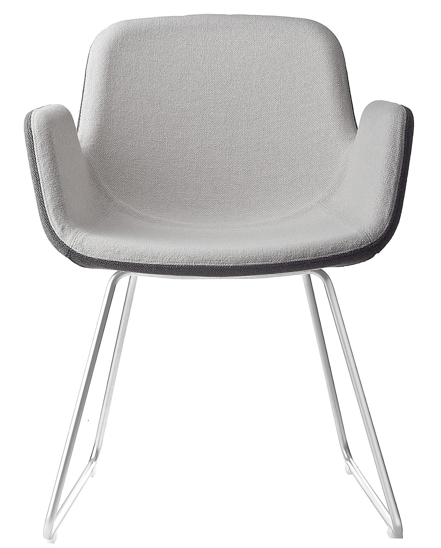 Möbel - Stühle  - Pass Gepolsterter Sessel / Kufengestell - Stoff - Lapalma - Sitzfläche: Innenseite mit hellgrauem Stoffbezug / Außenseite mit dunkelgrauem Stoffbezug - Fußgestell Edelstahl - Gewebe, mattierter rostfreier Stahl