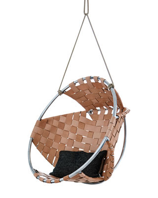 Furniture - Armchairs - Cocoon Hanging armchair - Leather by Trimm Copenhagen - Natural - Aluminium, Full grain leather, Rope