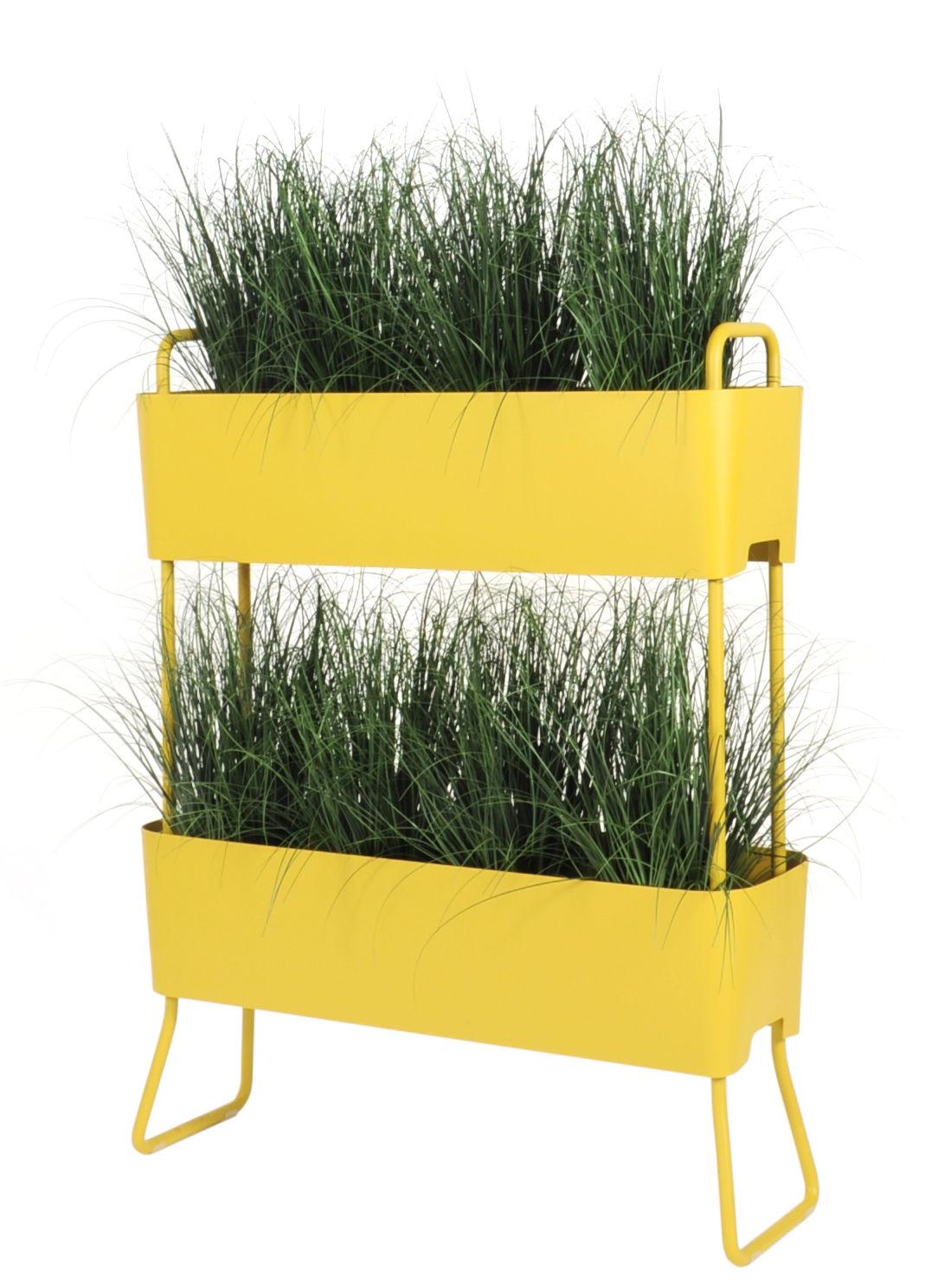 Outdoor - Pots et plantes - Jardinière Greens Duo / Set de 2 à empiler -  L 100 x H 119 cm - Maiori - Jaune moutarde - Aluminium