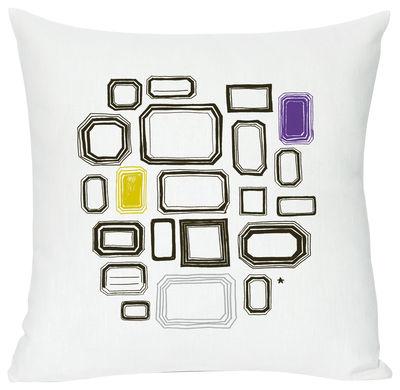Dekoration - Für Kinder - Coll print Kissen - Domestic - Coll print - weiß, schwarz, lila und gelb - Baumwolle, Leinen