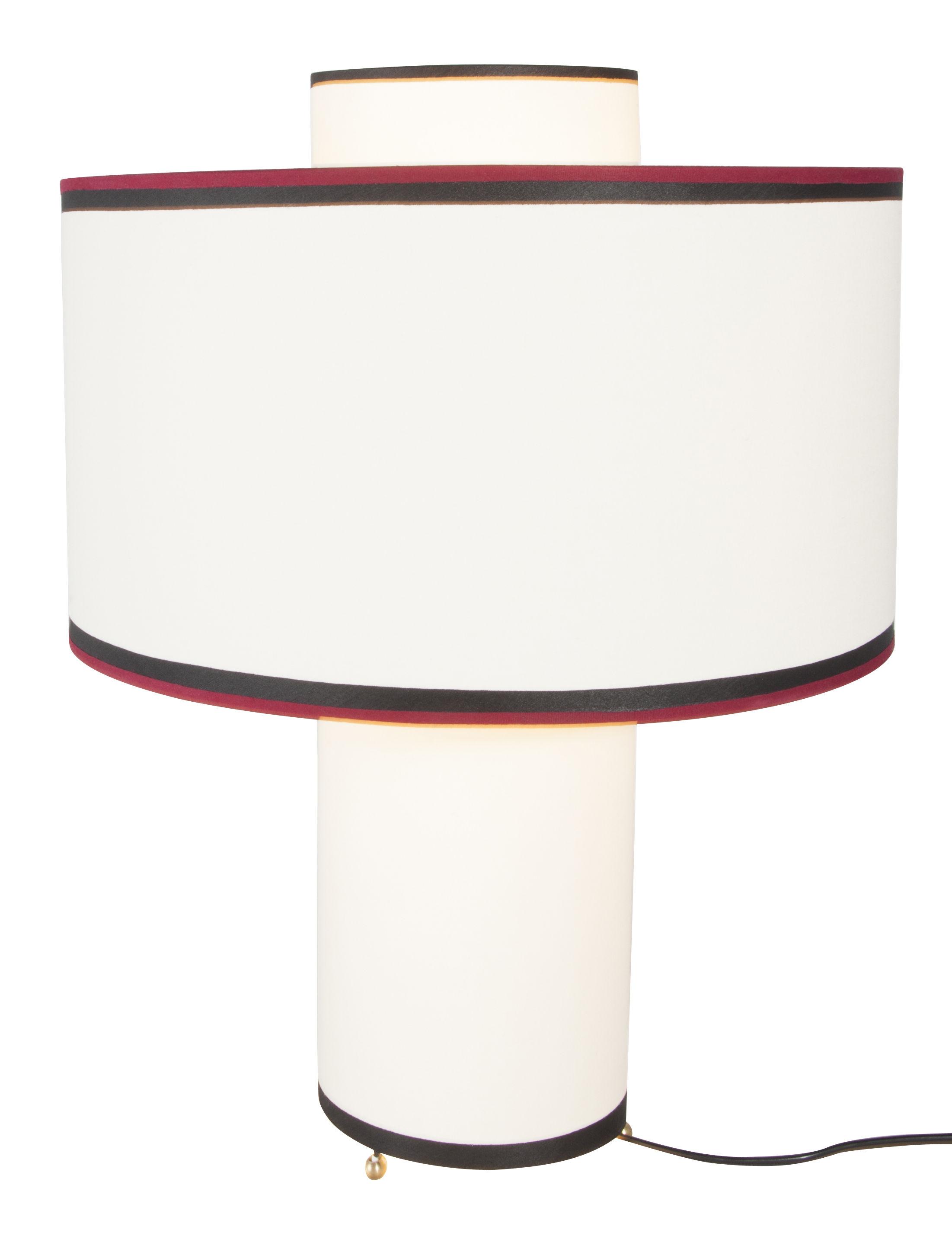 Luminaire - Lampes de table - Lampe de table Bianca / Coton - H 47 cm - Maison Sarah Lavoine - Ecru / Biais rouge & noir - Coton, Métal