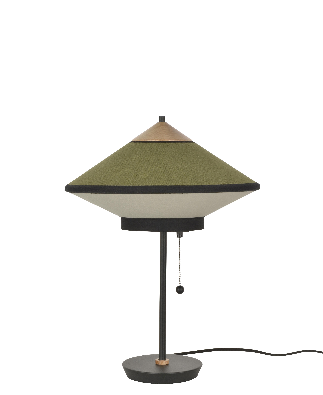 Luminaire - Lampes de table - Lampe de table Cymbal / Ø 35 cm - Velours - Forestier - Vert - Chêne, Métal laqué, Tissu coton tissé, Velours