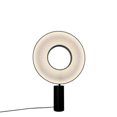 Lampe de table Iris LED / H 55 cm - Tissu & éclairage recto-verso - Dix Heures Dix blanc en tissu