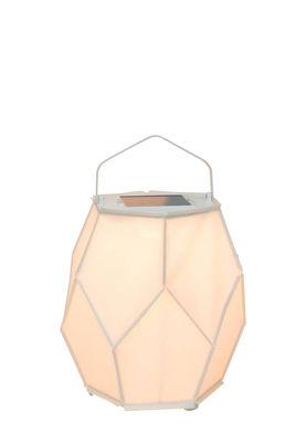 Luminaire - Lampes de table - Lampe solaire La Lampe Couture Small / Hybride & connectée - Ø 28 x H 37 cm - Maiori - Blanc - Aluminium, Toile Batyline