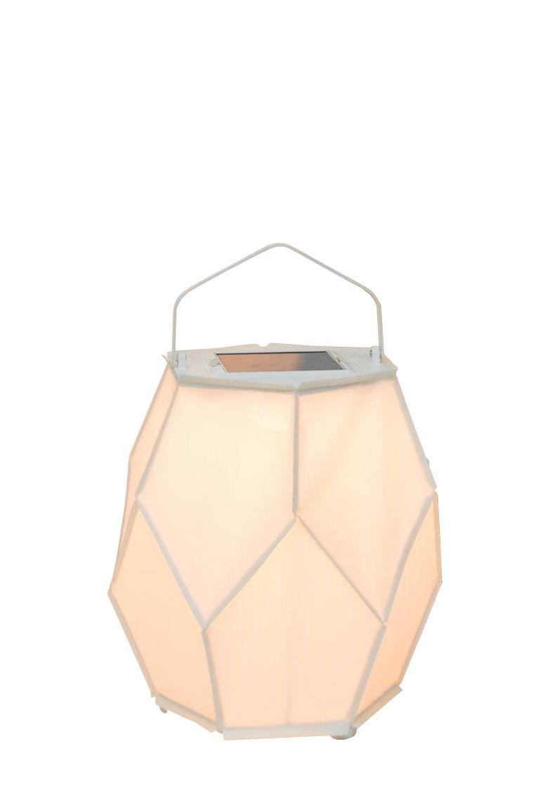 Luminaire - Lampes de table - Lampe solaire La Lampe Couture Small / Dock USB - Ø 28 x H 48 cm - Maiori - Blanc - Aluminium, Toile Batyline