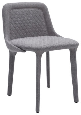 Furniture - Chairs - Lepel Padded chair - Padded fabric by Casamania - Grey Willow fabric / Black seam - Kvadrat fabric, Metal, Polyurethane foam