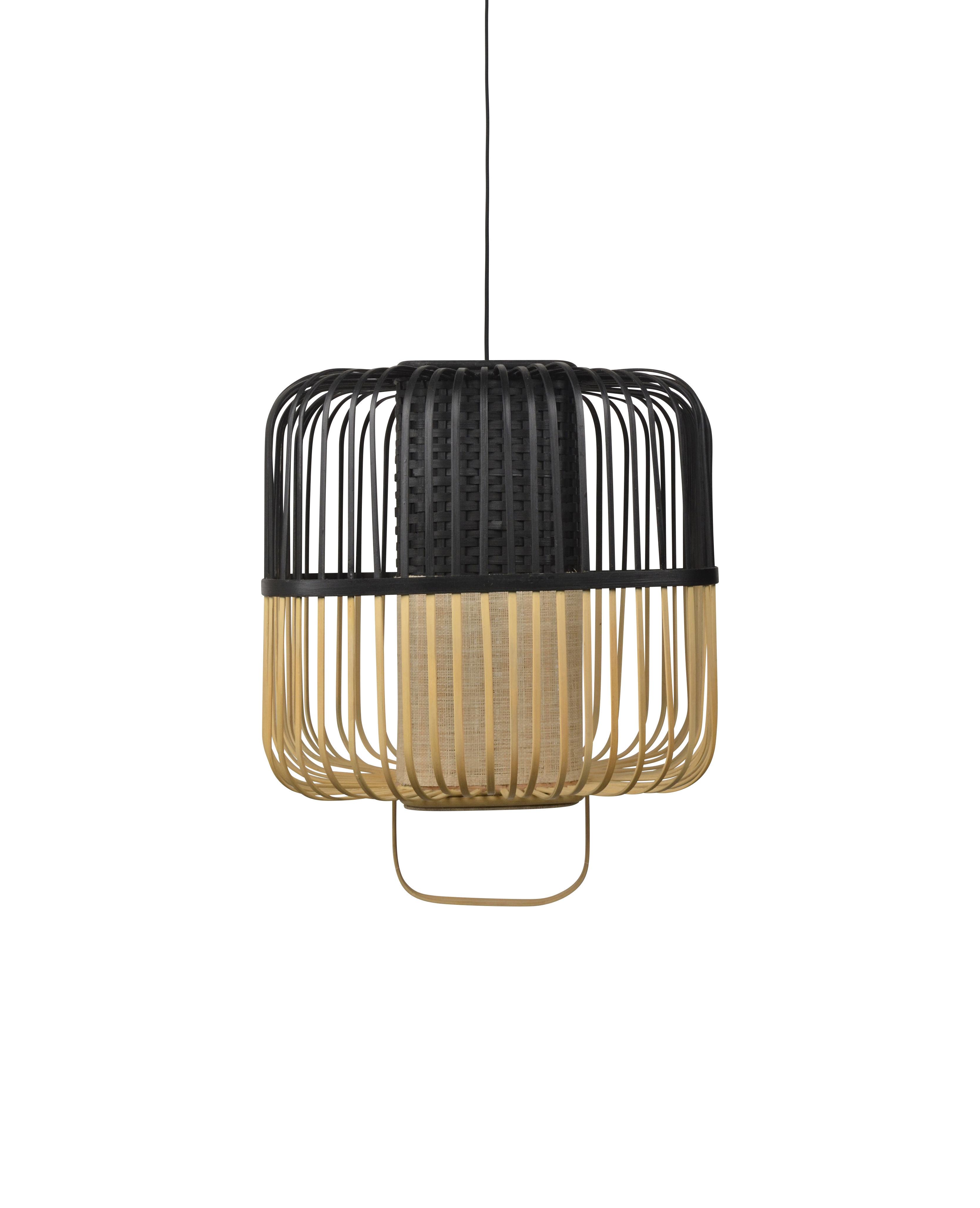 Lighting - Pendant Lighting - Bamboo Square Pendant - / Medium - H 43 cm by Forestier - Black - Bamboo