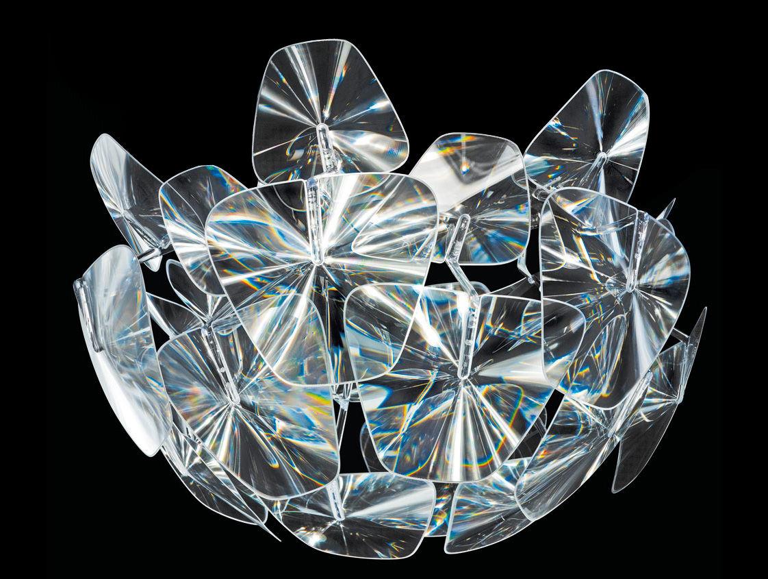 Luminaire - Plafonniers - Plafonnier Hope - Luceplan - Transparent - Acier poli, Polycarbonate