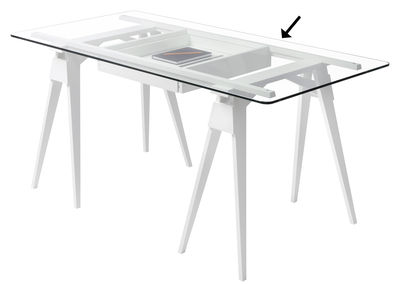 Plateau verre / Pour bureau Arco - 150 x 75 cm - Design House Stockholm blanc en verre