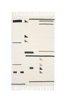 Decoration - Rugs - Kelim Triangles Rug - Small - 80 x 140 cm by Ferm Living - Multicolored / White - Cotton, Wool