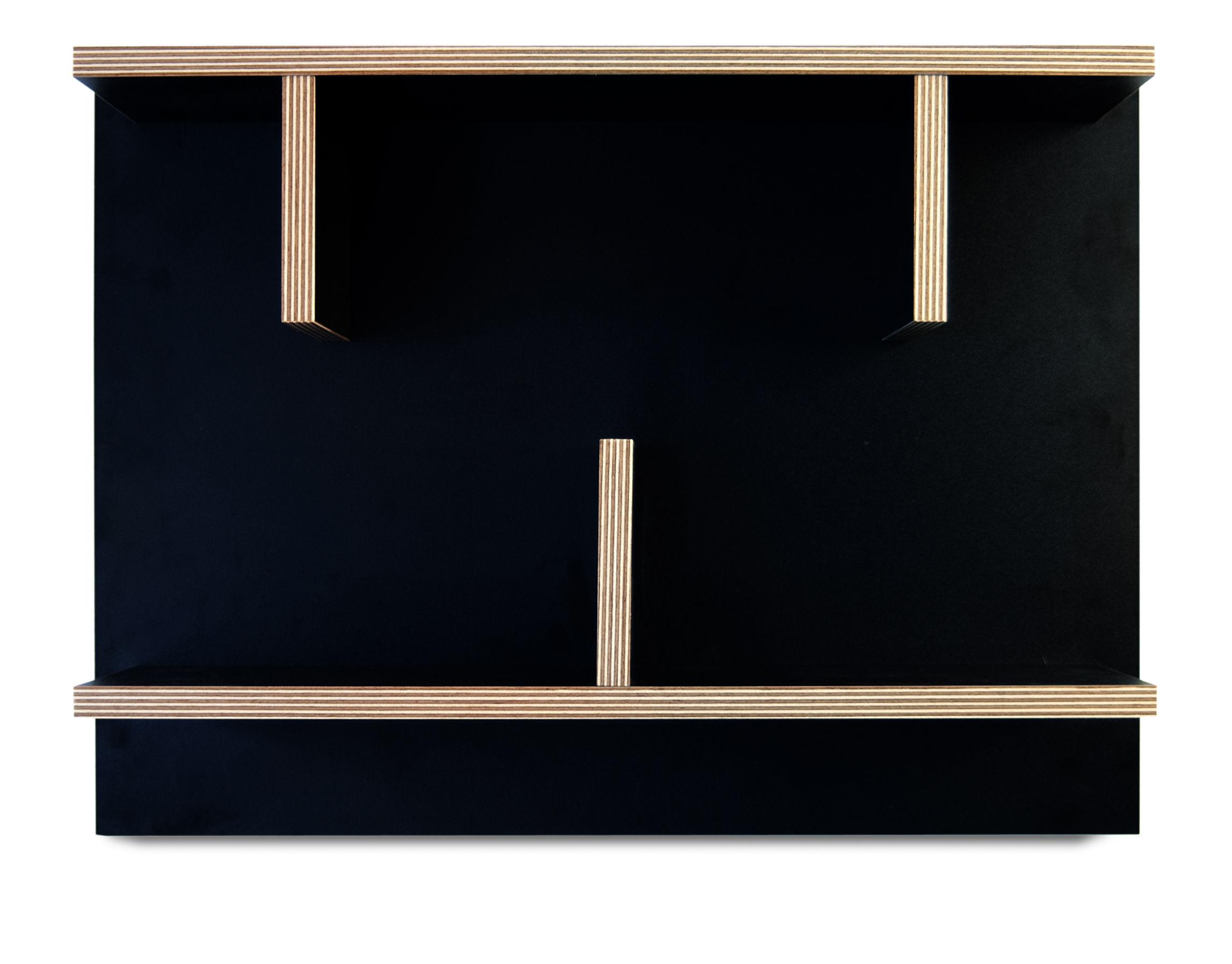 Arredamento - Scaffali e librerie - Mensola Rack / L 60 x H 45 cm - POP UP HOME - Nero / Sezioni: legno - Melamina