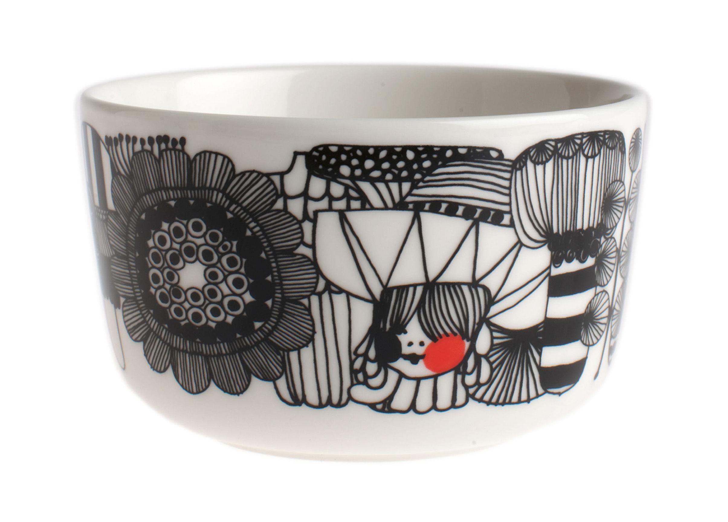 Tischkultur - Salatschüsseln und Schalen - Siirtolapuutarha Schale Ø 9 cm - Marimekko - Ø 9 cm - Siirtolapuutarha - Schwarz, weiß & rot - emailliertes Porzellan