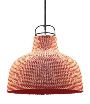Illuminazione - Lampadari - Sospensione Sarn 1 / Ø 30 cm - Palma intrecciata - Spécimen Editions - Rosa - Acciaio, Palma intrecciata