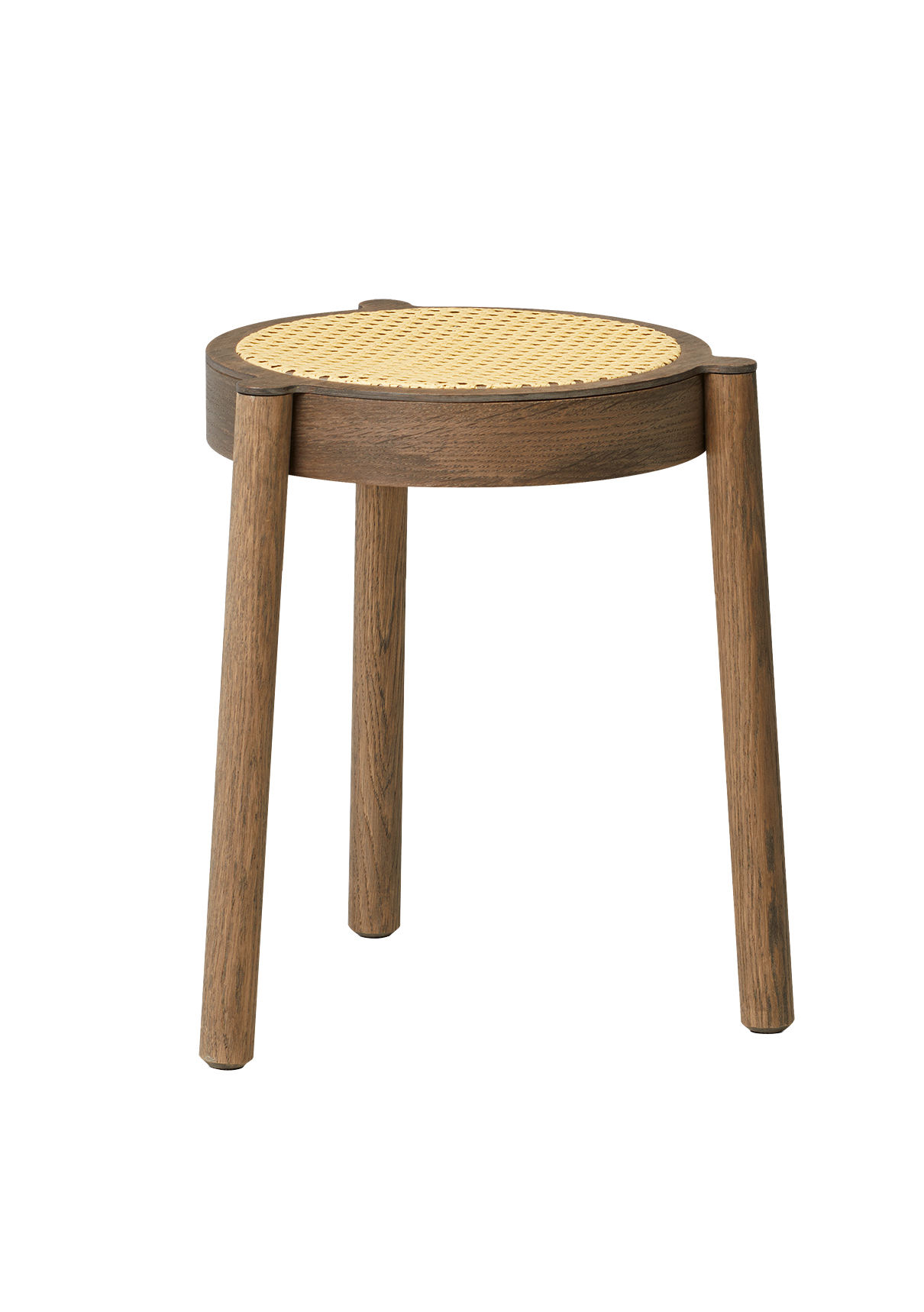 Furniture - Stools - Pal Stool - / Wood & teak by Northern  - Smoked oak / Wicker - Rattan, Solid smoked oak