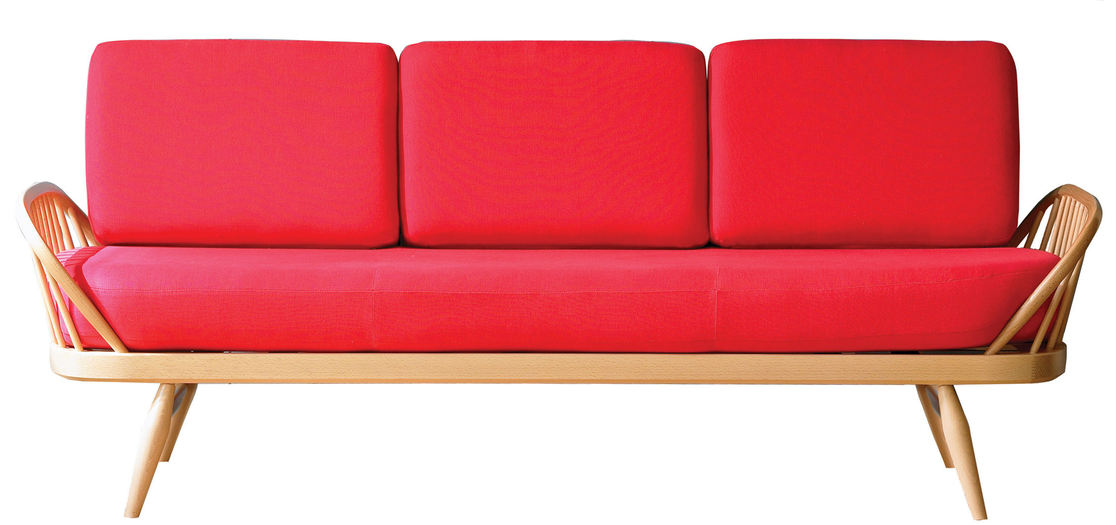 Furniture - Sofas - Studio Couch Straight sofa - 3 seaters / L 206 cm - Reissue 1950' by Ercol - Red / Natural wood - Fabric, Foam, Natural beechwood, Solid elm