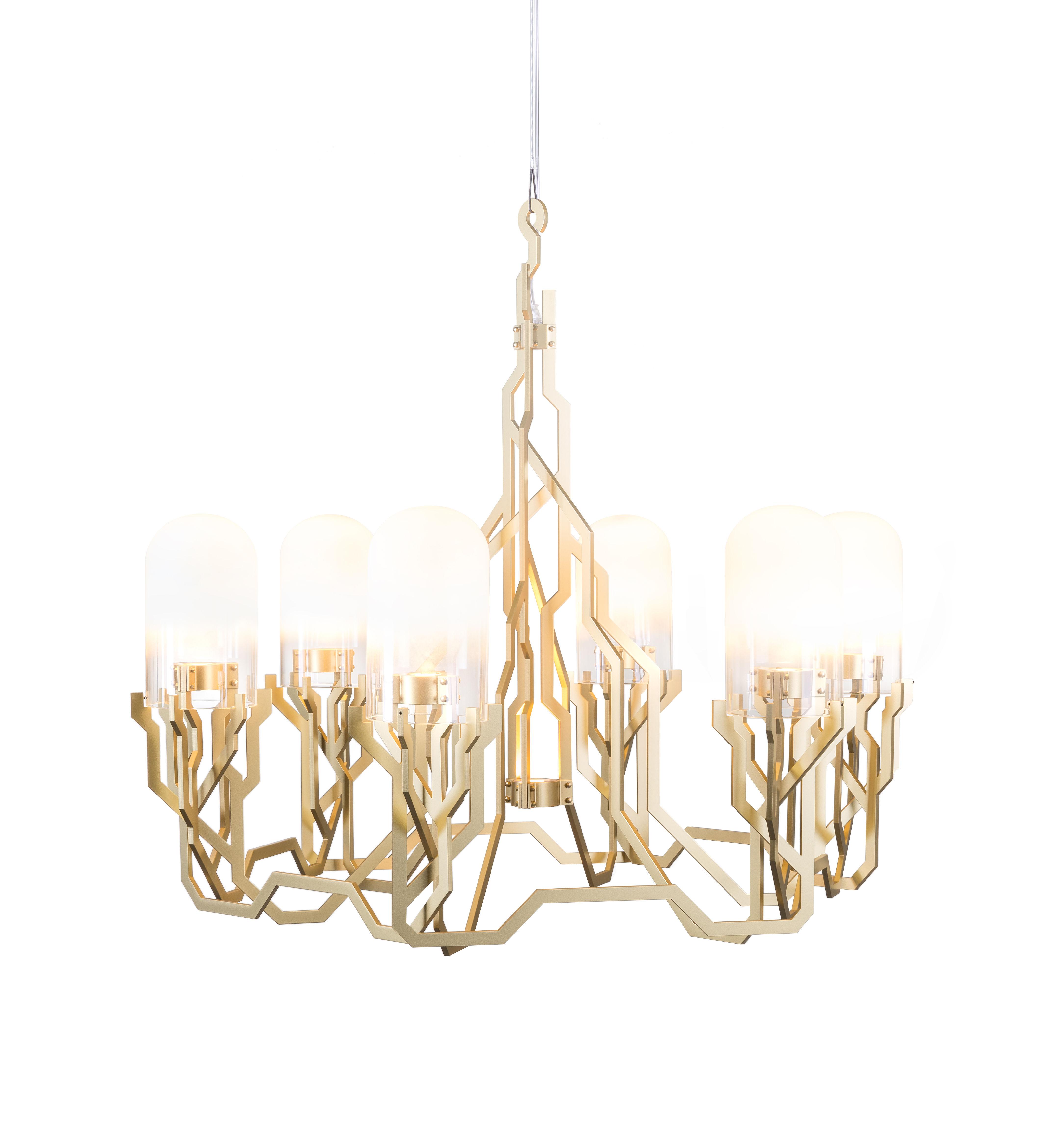 Luminaire - Suspensions - Suspension Plant / LED - Ø 90 cm - Moooi - Or - Acier, Verre dépoli