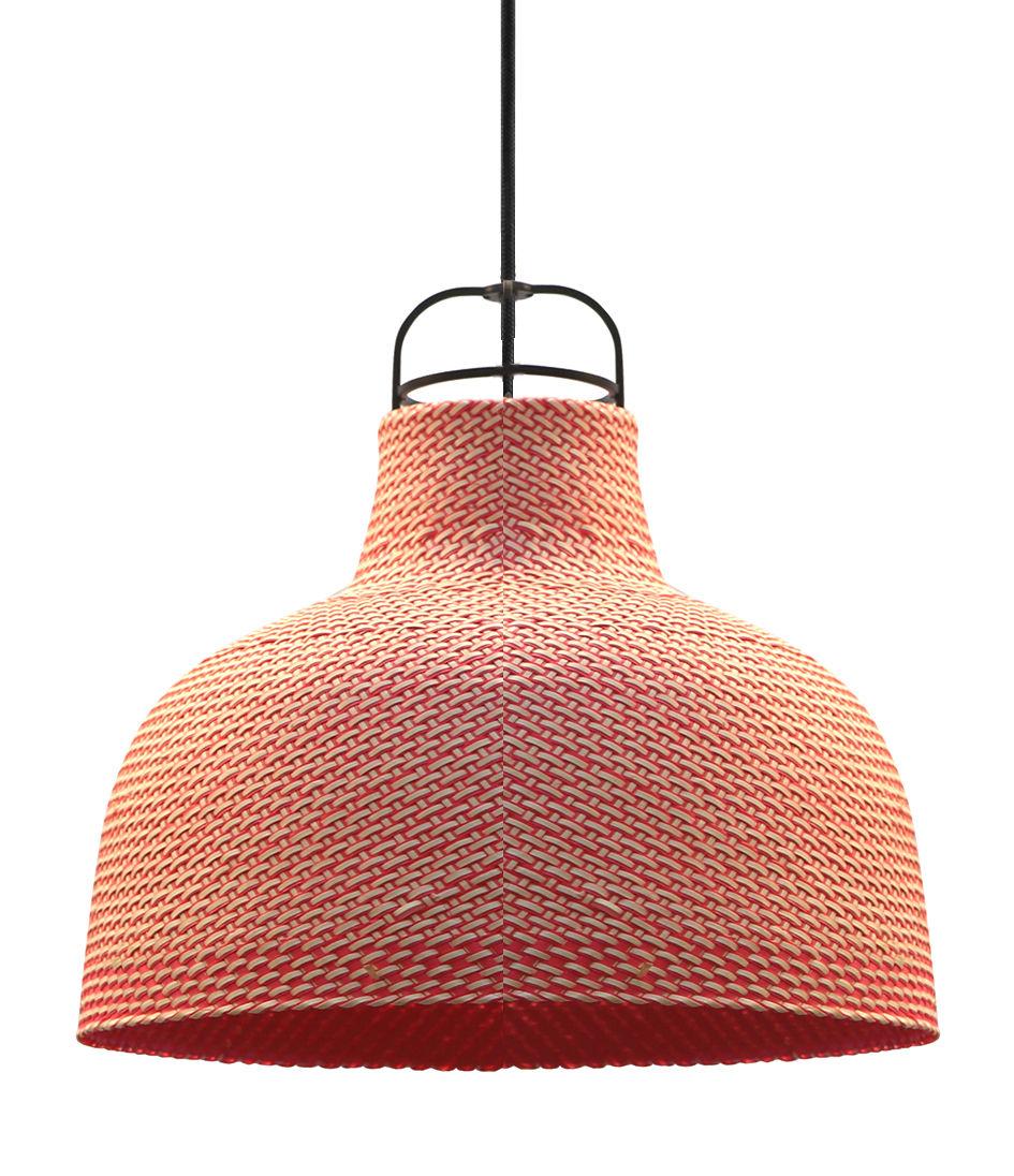 Luminaire - Suspensions - Suspension Sarn 1 / Ø 30 cm - Palme tressée - Spécimen Editions - Rose - Acier, Palme tressée