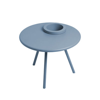 Table basse Bakkes / Ø 60 cm - Pot de fleurs intégré / Acier - Fatboy bleu calcite en métal