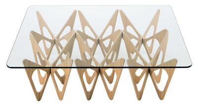 Table basse Butterfly / Rectangulaire - 90 x 120 cm - Zanotta transparent,rouvre naturel en verre