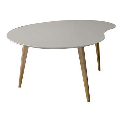 Table basse Lalinde large haricot / L 83cm / Pieds bois - Sentou Edition gris clair,chêne en bois