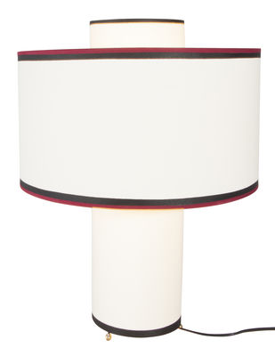 Lighting - Table Lamps - Bianca Table lamp - Cotton / Ø 36 x H 47 cm by Maison Sarah Lavoine - Beige / red and black tape - Cotton, Metal