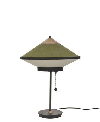 Lighting - Table Lamps - Cymbal Table lamp - / Ø 35 cm - Velvet by Forestier - Green - Lacquered metal, Oak, Velvet, Woven cotton fabric