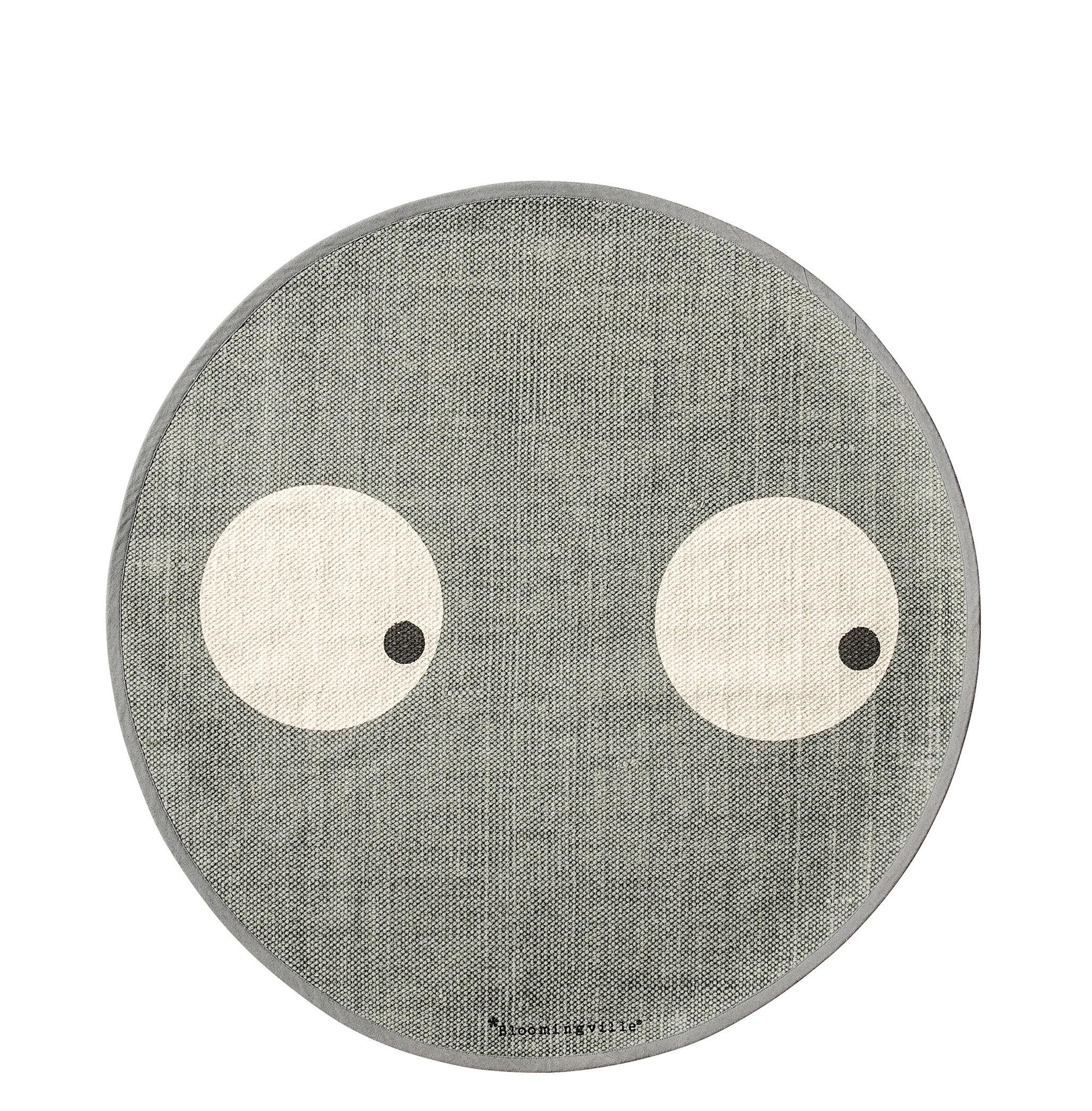 Déco - Pour les enfants - Tapis / Ø 80 cm - Coton - Bloomingville - Gris / Yeux - Coton