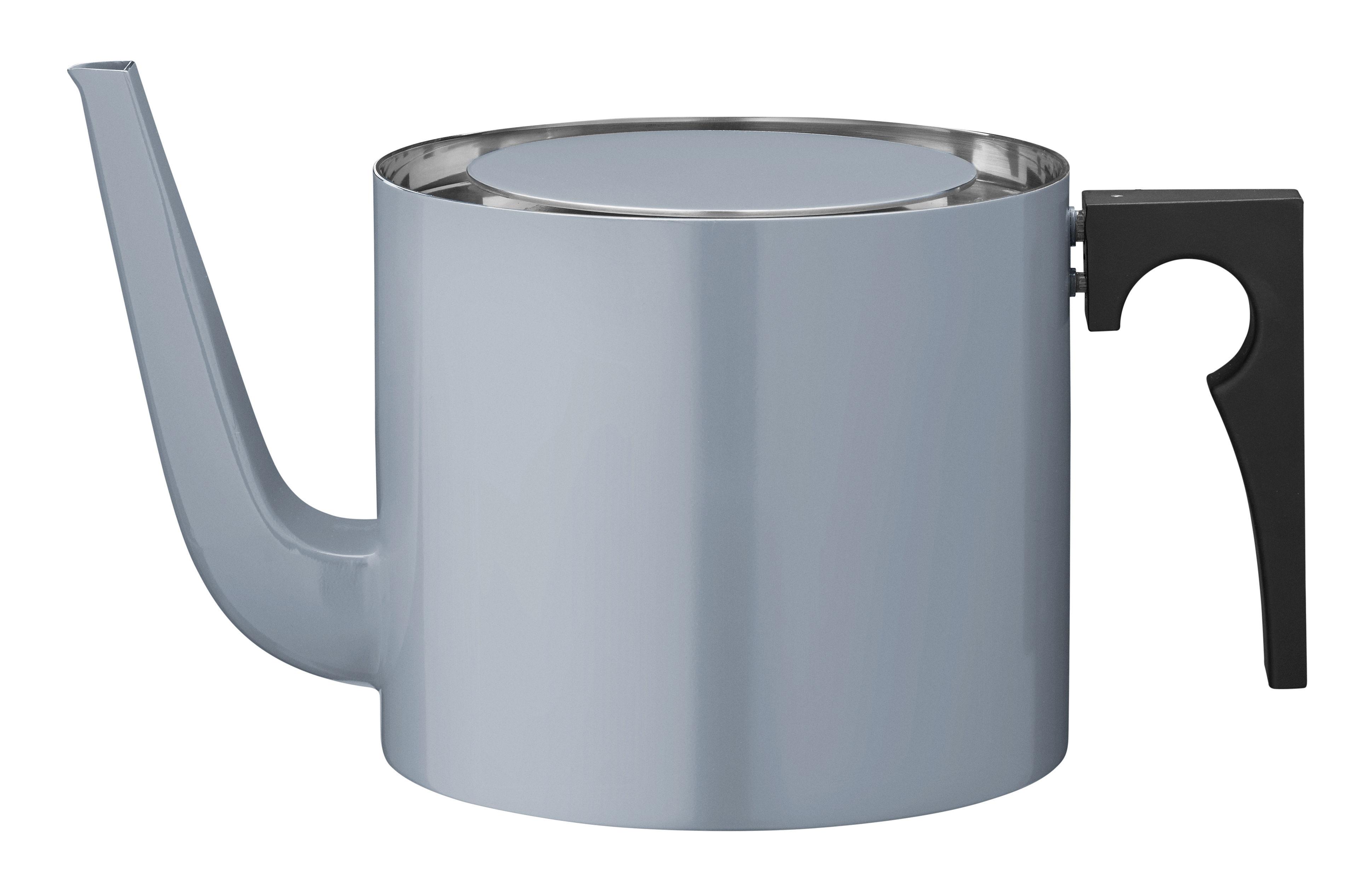 Tischkultur - Tee und Kaffee - Cylinda-Line Teekanne / 1,25 l - Arne Jacobsen 1967 - Stelton - Rauchblau - Bakelit, Stahl, rostfrei und emailliert