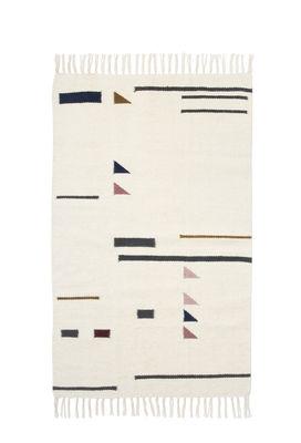 Kelim Triangles Teppich / klein - 80 x 140 cm - Ferm Living - Weiß,Bunt