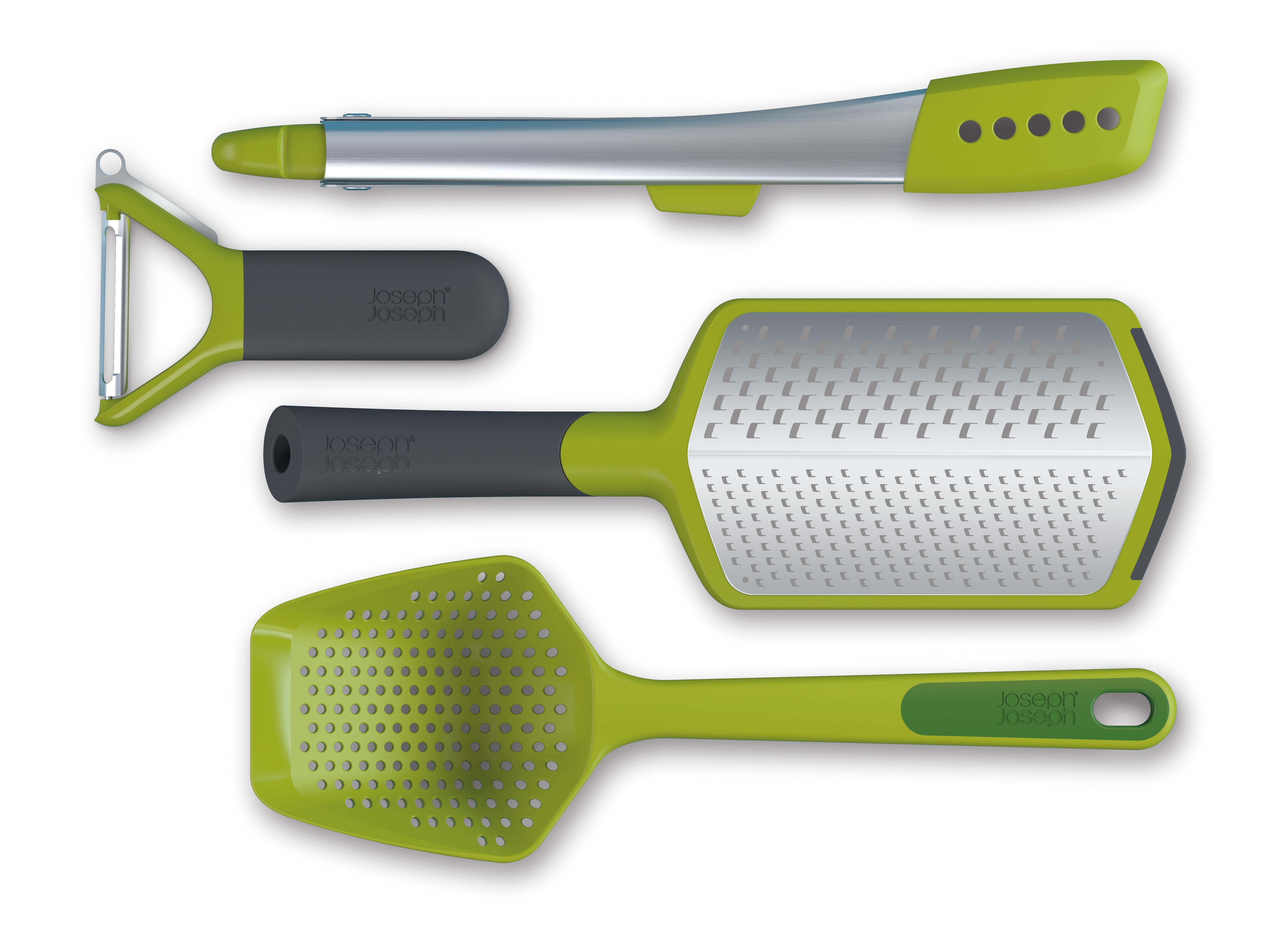 Cuisine - Ustensiles de cuisines - Ustensile de cuisine L'Indispensable / Set de 4 pièces - Joseph Joseph - Vert / Acier - Acier inoxydable, Matière plastique