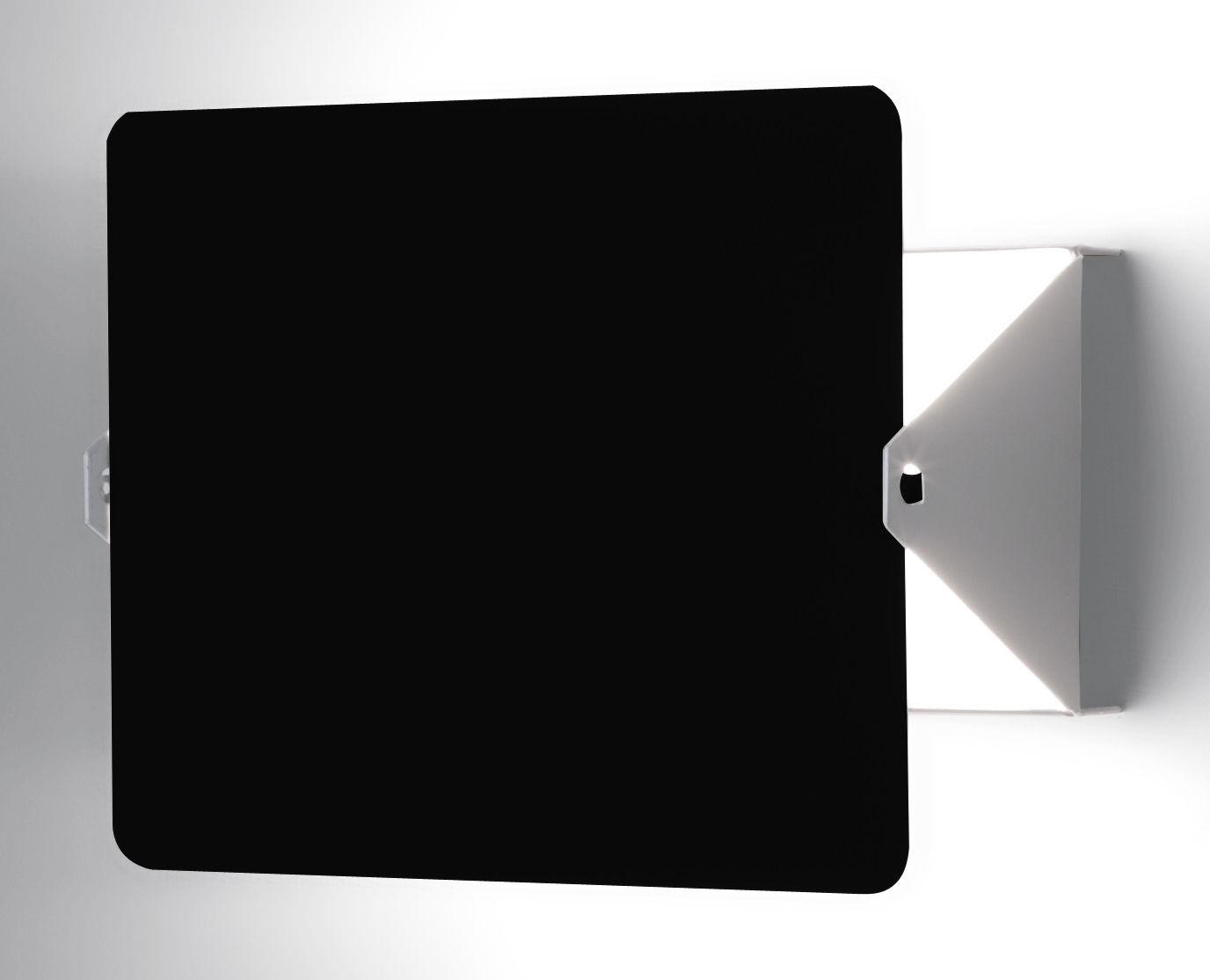 Luminaire - Appliques - Applique avec prise à volet pivotant E14 / Charlotte Perriand, 1962 - Nemo - Blanc / Plaque pivotante noire - Aluminium peint, Métal peint