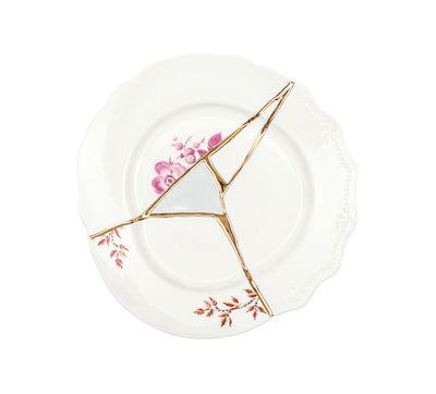 Assiette à dessert Kintsugi / Porcelaine & or fin - Seletti blanc,rouge,or en céramique