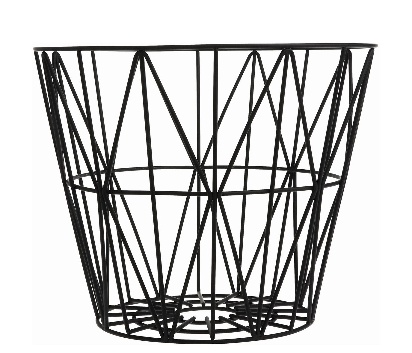 Decoration - For bathroom - Wire Small Basket - Ø 40 x H 35 cm by Ferm Living - Black - Lacquered wire