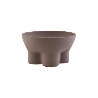 Decoration - Centrepieces & Centrepiece Bowls - Stand Bowl - / Earthenware - Ø 24 cm by House Doctor - Brown - Enamelled earthenware
