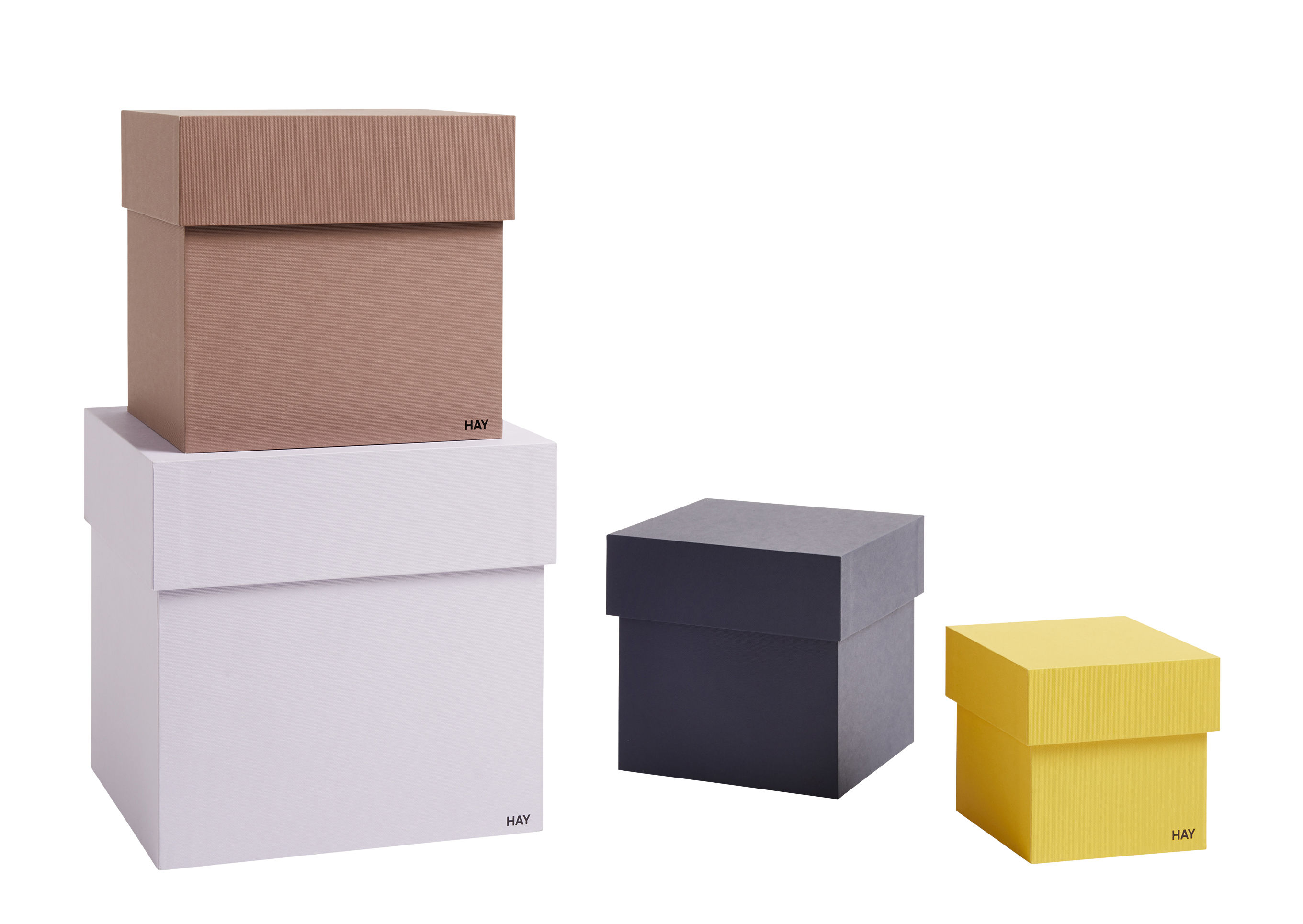 Decoration - Decorative Boxes - Desktop Box - / Set of 4 - L 23 cm by Hay - Multicoloured - Cardboard