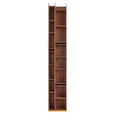 Möbel - Regale und Bücherregale - Random 2C Bücherregal / L 36 x H 217 cm - MDF Italia - Nussbaum - MDF furniert in Canaletto Walnuss