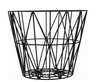 Interni - Bagno  - Cesto Wire Small - Ø 40 x H 35 cm di Ferm Living - Nero - Fil di ferro laccato