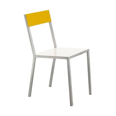 Mobilier - Chaises, fauteuils de salle à manger - Chaise Alu - valerie objects - Assise blanche / Dossier jaune - Aluminium