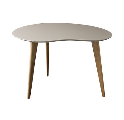 Furniture - Coffee Tables - Lalinde Small Coffee table - L 63cm / Wood legs by Sentou Edition - Light grey - Lacquered MDF, Oak