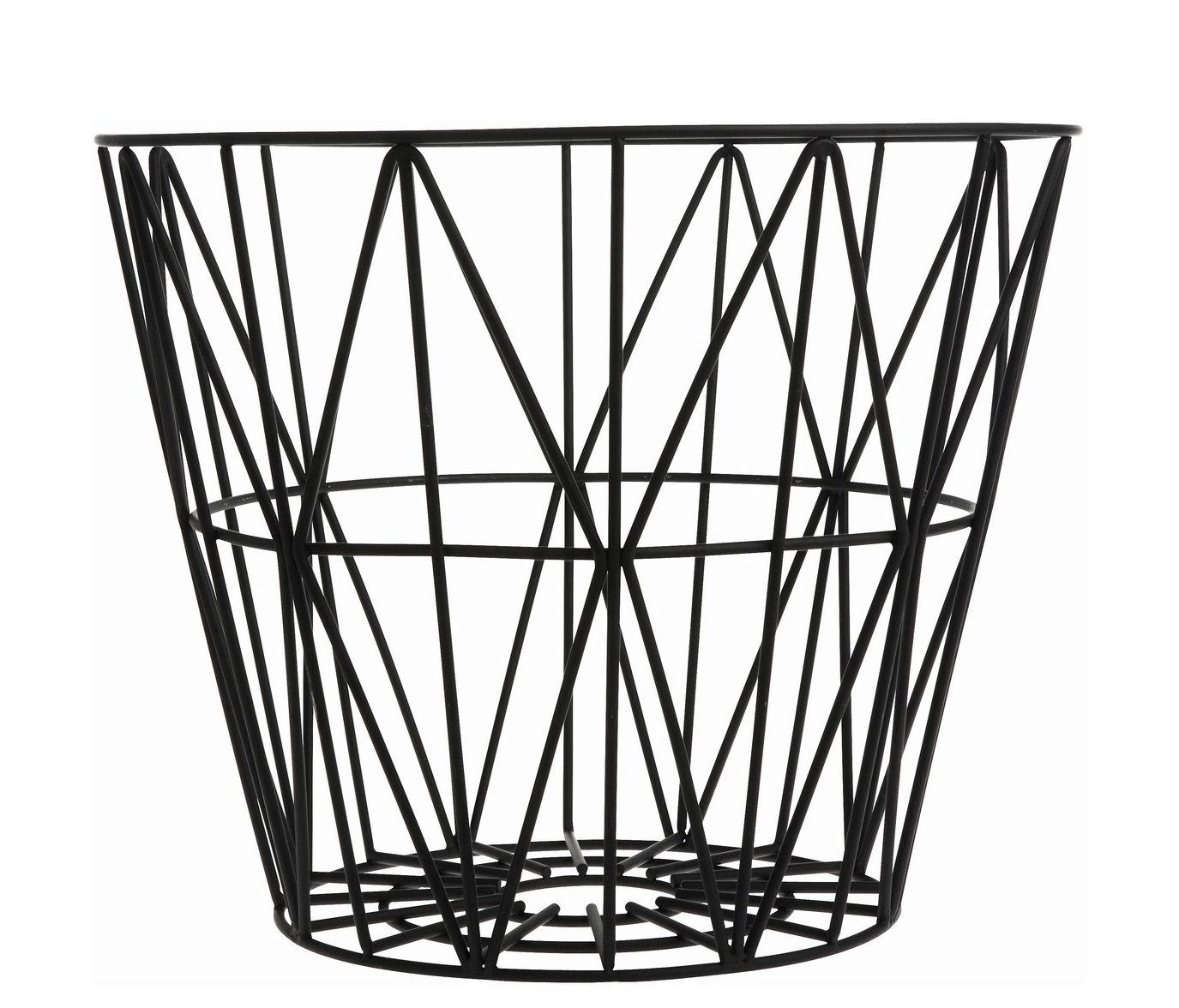 Déco - Salle de bains - Corbeille Wire Small / Ø 40 x H 35 cm - Ferm Living - Noir - Fil de fer laqué