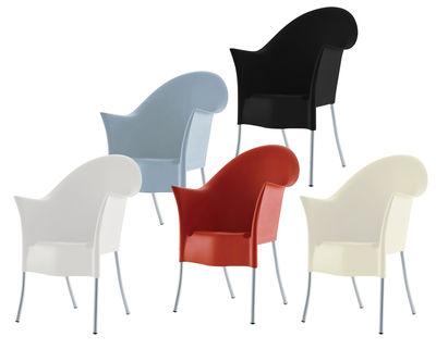 Mobilier - Chaises, fauteuils de salle à manger - Fauteuil empilable Lord Yo / Plastique & pieds métal - Driade - Blanc - Aluminium, Polypropylène