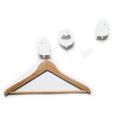 Furniture - Coat Racks & Pegs - Oiseaux et cœur Hook - 3 coat-pegs by Domestic - White - Lacquered aluminium