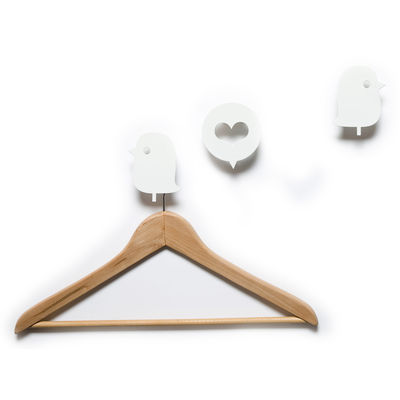 Furniture - Coat Racks & Pegs - Oiseaux et cœur Hook - 3 coat-pegs by Domestic - White - Lacquered aluminium