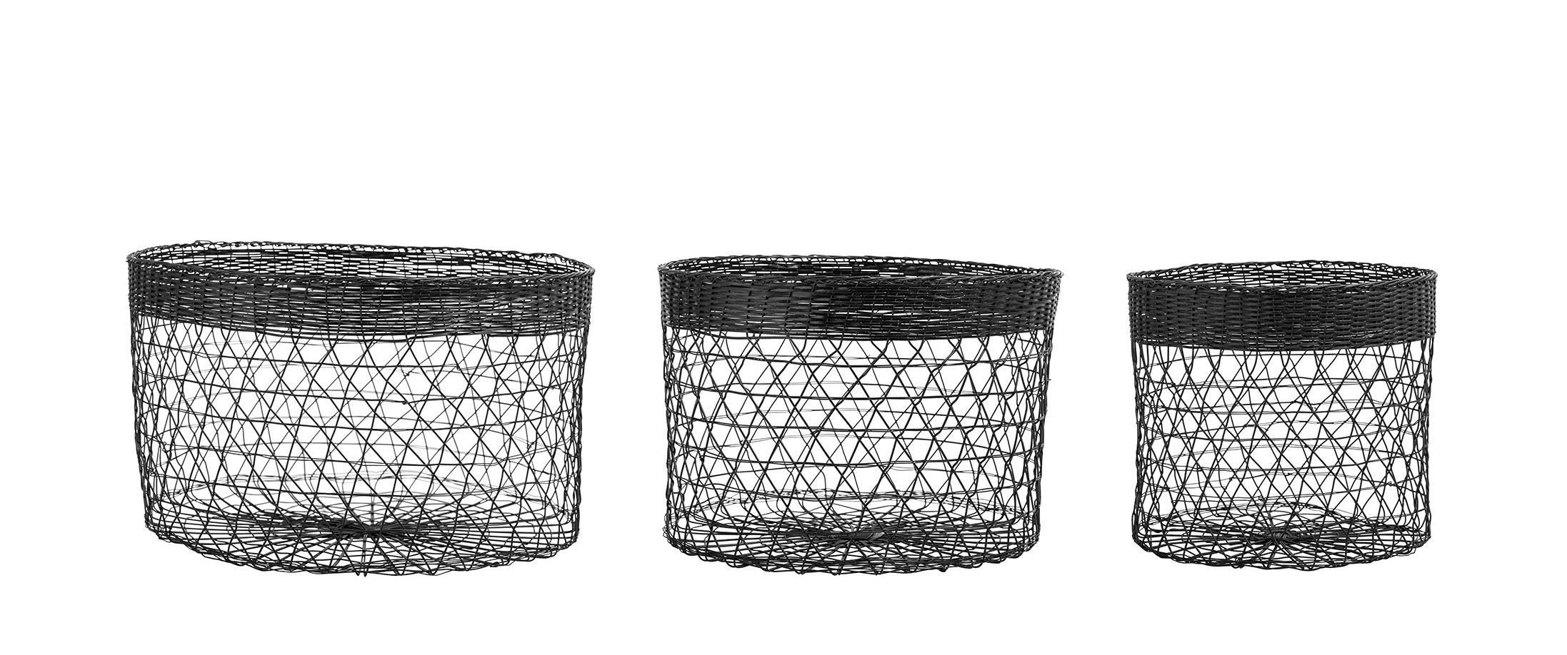 Dekoration - Körbe und Ablagen - Korb / 3 - er-Set Metallnetz - Bloomingville - Schwarz - lackiertes Metall