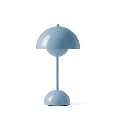 Illuminazione - Lampade da tavolo - Lampada senza fili Flowerpot VP9 - / H 29,5 cm - By Verner Panton, 1968 di &tradition - Blu chiaro - policarbonato